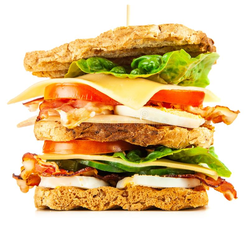 Tall club sandwich. With eggs, turkey and bacon stock images