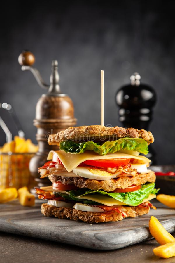 Tall club sandwich. And french fries royalty free stock photography