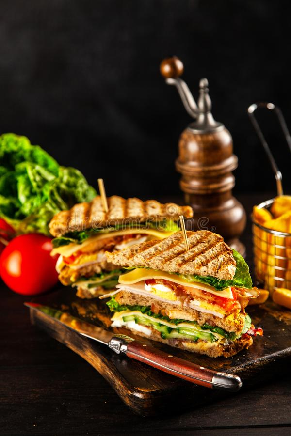 Tall club sandwich. And french fries royalty free stock photo