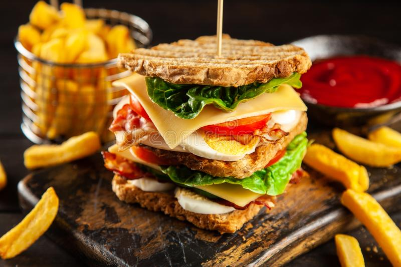 Tall club sandwich. And french fries stock image