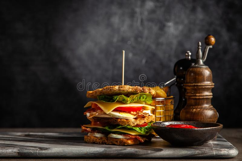 Tall club sandwich. And french fries royalty free stock image