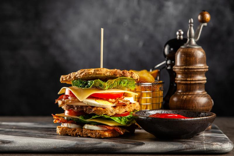 Tall club sandwich. And french fries stock photography