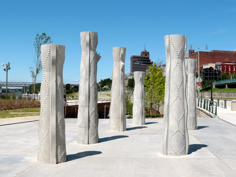 Tall Concrete Sculptures at the Beale Street Landing Memphis, Tennessee. Tall Concrete Sculptures outside the Beale Street landing located in Downtown Memphis stock photography