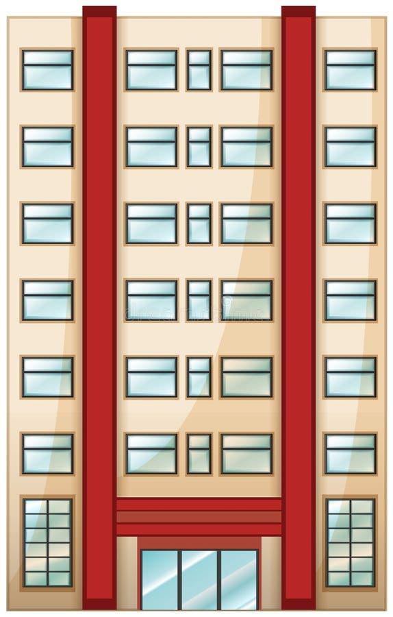 A tall condominium. Illustration of a tall condominium on a white background stock illustration