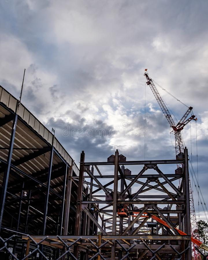 Steel Erection early on a cloudy morning stock images