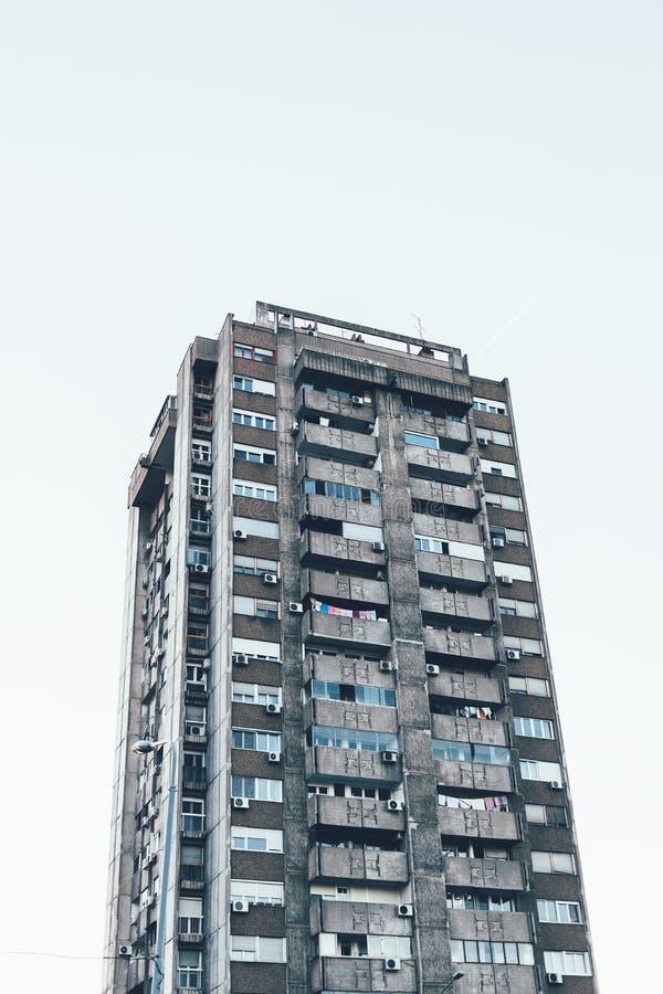 Eastern-European apartment building in Belgrade, Serbia stock images