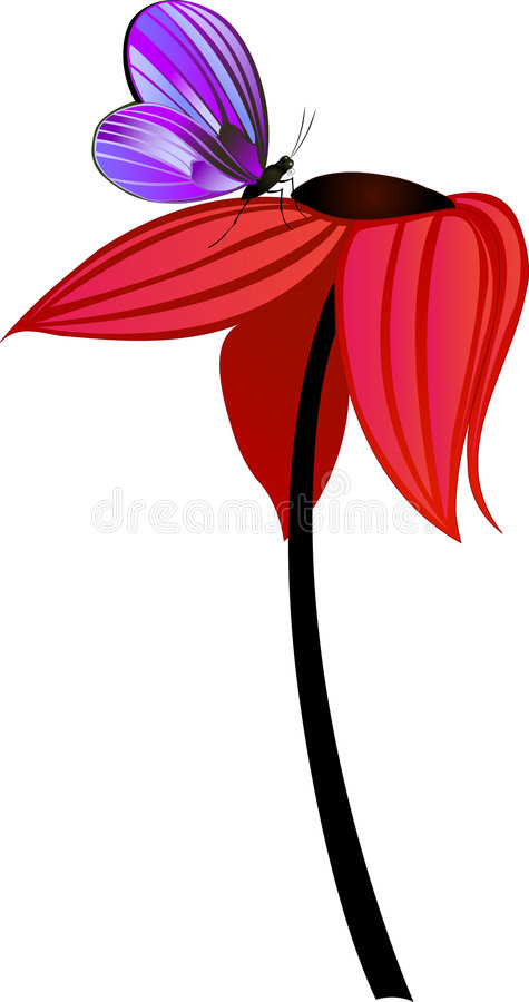 Tall flower with butterfly royalty free stock image