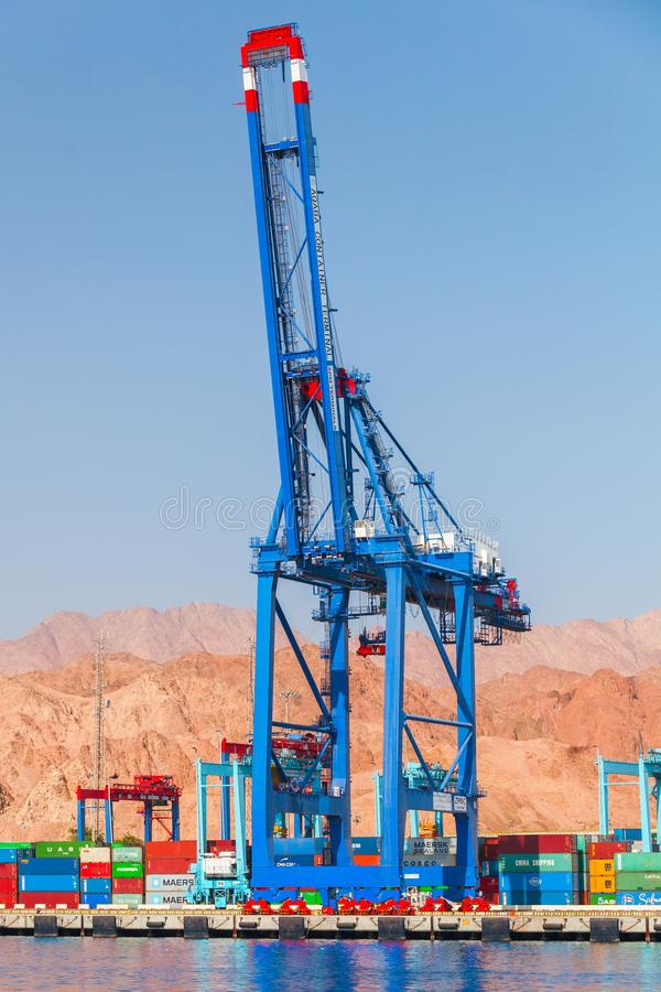 Tall gantry crane. Container terminal royalty free stock photo