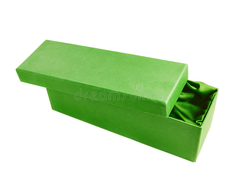 Tall gift box isolated. Green opened tall gift box with the velvet cloth inside, isolated over the white background stock photo