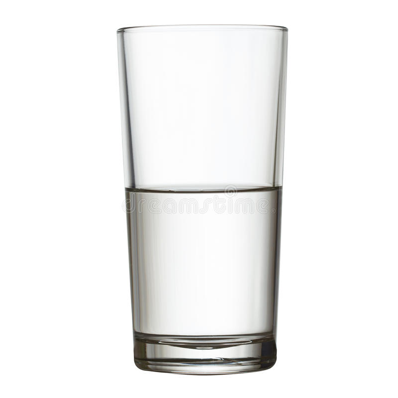 Tall half full glass of water w clipping path stock photos