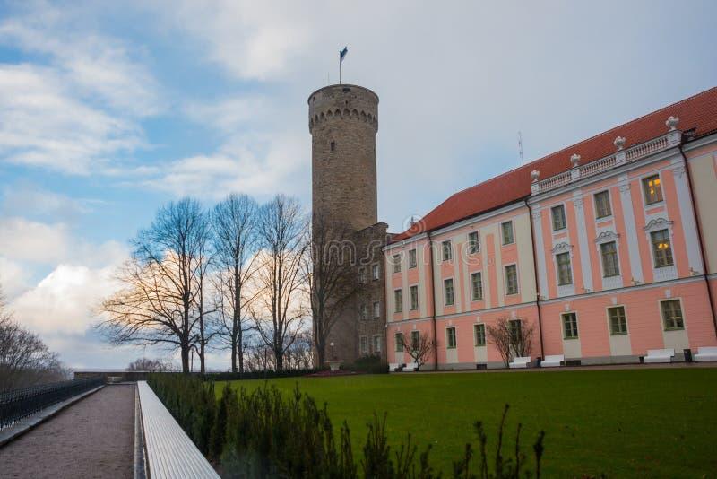 Tall Hermann tower and Parliament building. Toompea, Governors garden, Tallinn, Estonia stock photos
