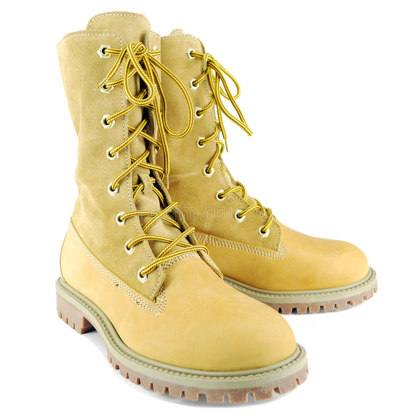Tall hiking boots royalty free stock photography