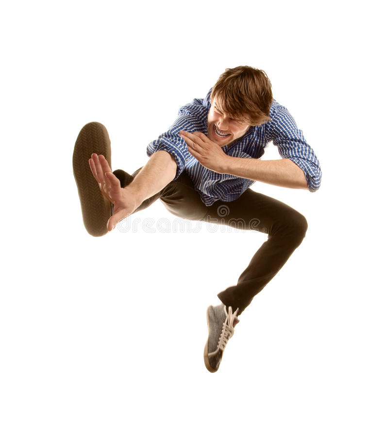 Tall Hipster Jumping royalty free stock image