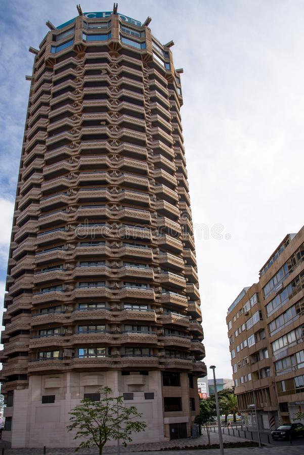 Tall Hotel Tower in Las Palmas stock image