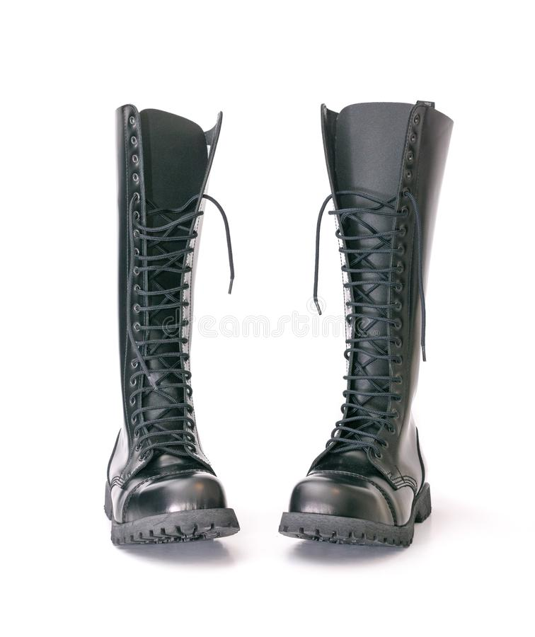 Free Tall Knee High Combat Boots With Screwed On Soles Royalty Free Stock Image - 125834426
