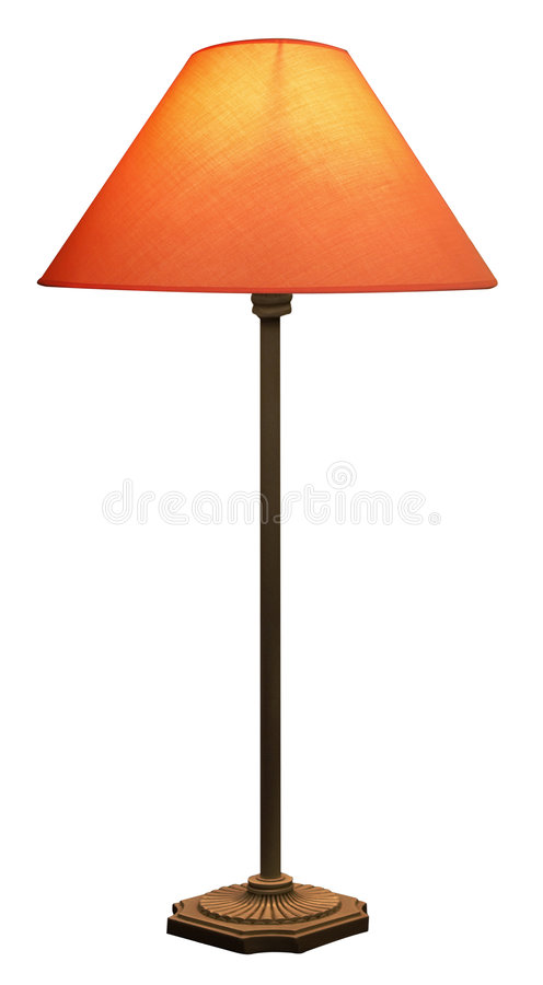 Tall Lamp with Orange Shade stock image