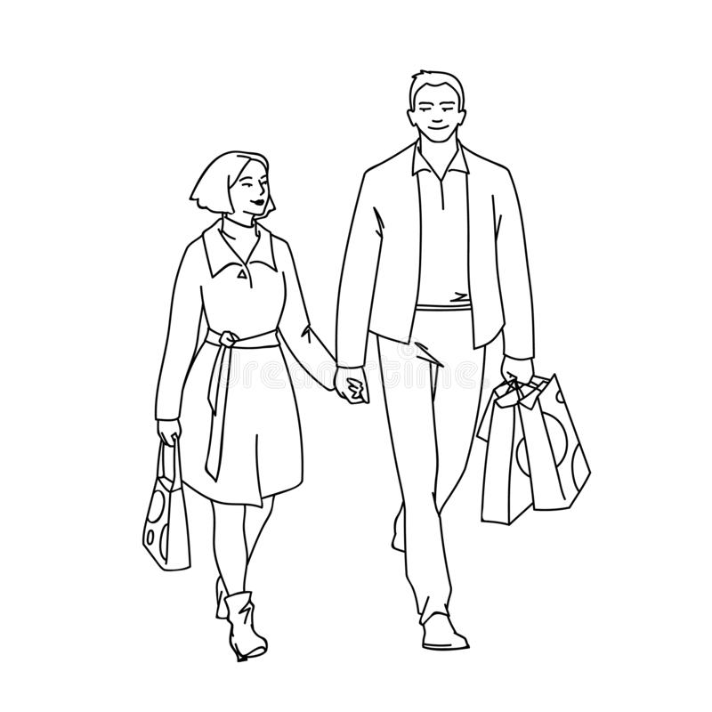 Tall man with packages and woman walking with him by the hand. Monochrome vector illustration of couple of young people. Shopping in simple line art style stock illustration