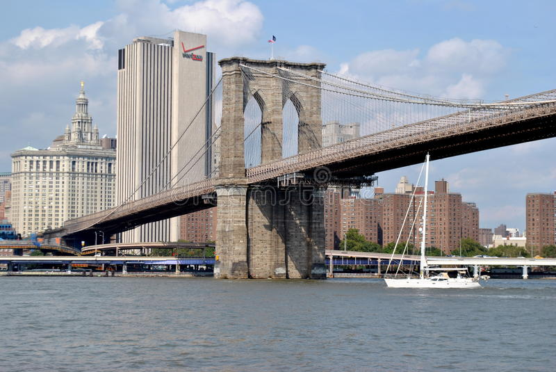 Download A Tall-masted Sailboat Under The Brooklyn Bridge Editorial Photo - Image: 21382501