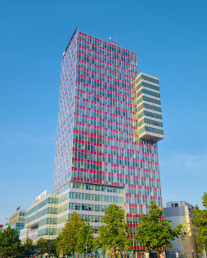 Tall office building, Bratislava, Slovakia. BRATISLAVA, SLOVAKIA - SEPTEMBER 16, 2016: Tall office building, a part of City Business Center in Bratislava, as an stock photography