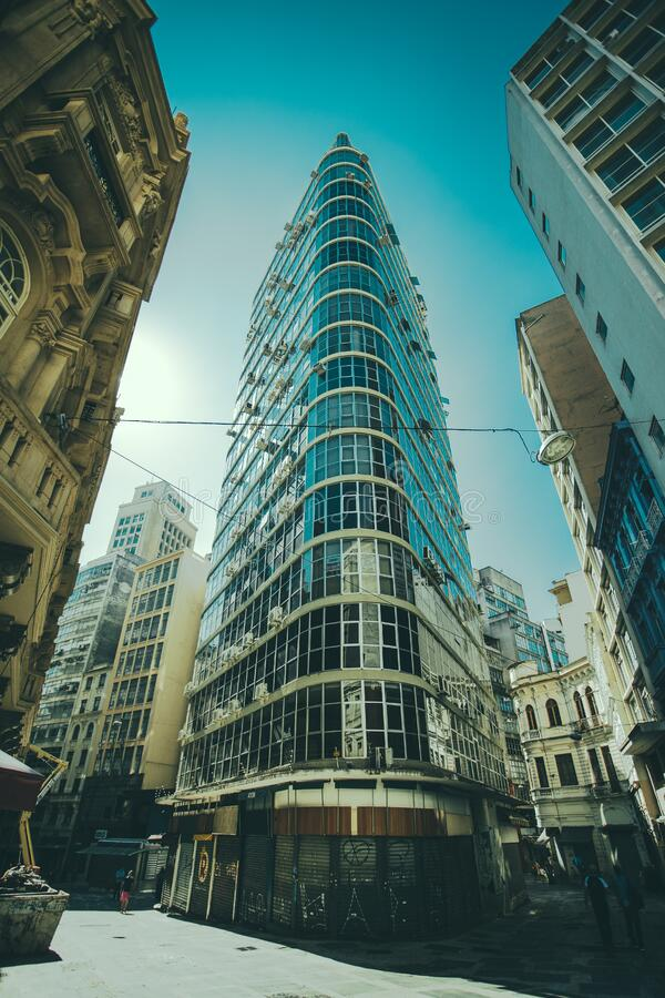 Tall office building in city royalty free stock photos