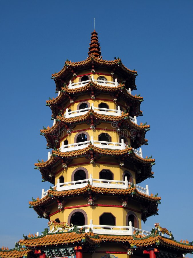 Tall Pagoda. The Autumn Pagoda in the city of Kaohsiung, Taiwan royalty free stock image