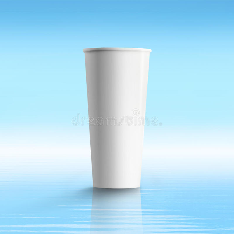 Tall paper coffee cup, over blue aqua background. Use stock photography