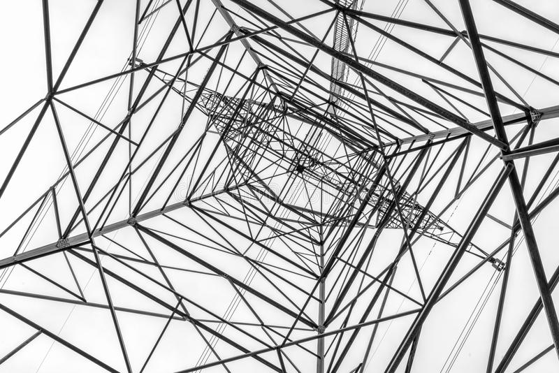 Power line pylon silhouette royalty free stock image