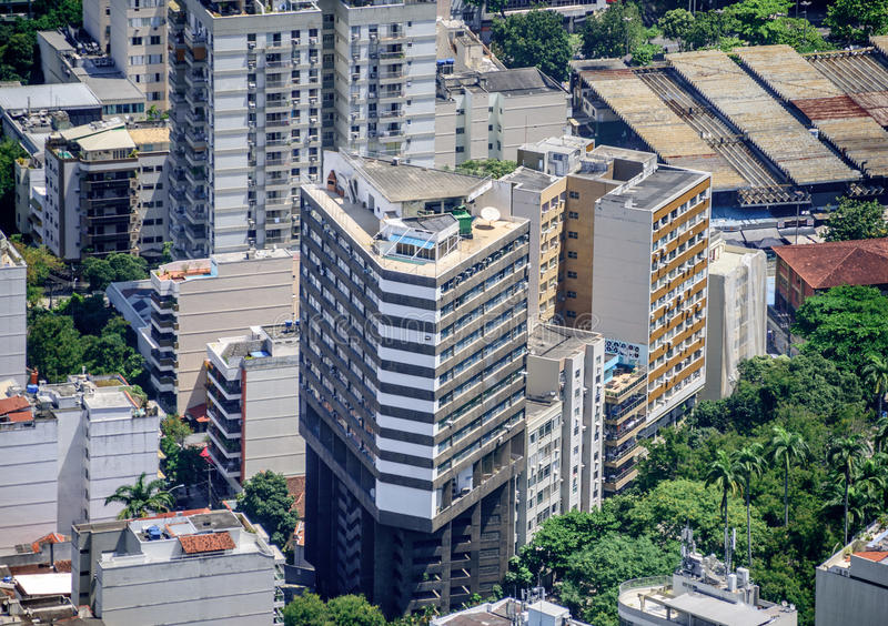 Tall residential buildings in Botafogo, Humaita, view from Mirante Dona Marta, Rio de Janeiro, Brazil. Tall residential buildings in Botafogo, Humaita of Zona stock photo