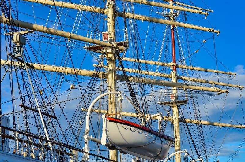 Tall Sailing Ship, Closeup Detail of Mast, Sails stock image