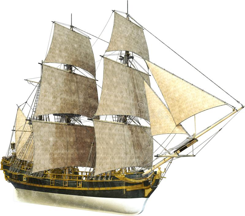Tall Sailing Ship, Sales, Isolated. Tall sailing ship. The ocean or sea going vessel has canvas sails or sail and is isolated on white. PNG file available royalty free illustration