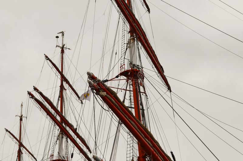 Tall Sailing Ship& x27;s Masts, Yardarms and Rigging stock image