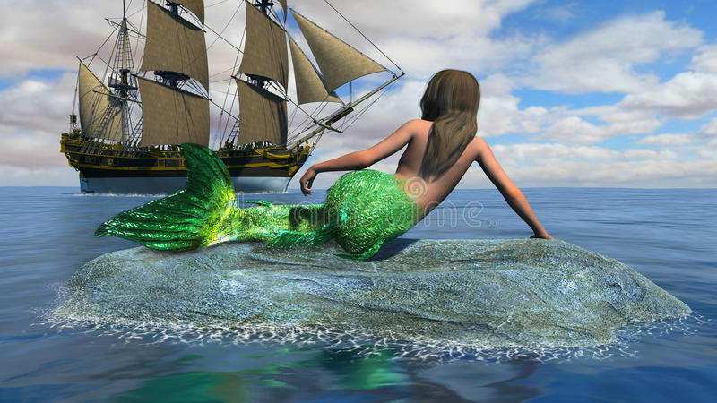 Tall Sailing Ship, Sea Mermaid Illustration. Illustration of a woman mermaid sea fish sitting on a rock in the ocean and watching a tall sailing ship with full royalty free illustration