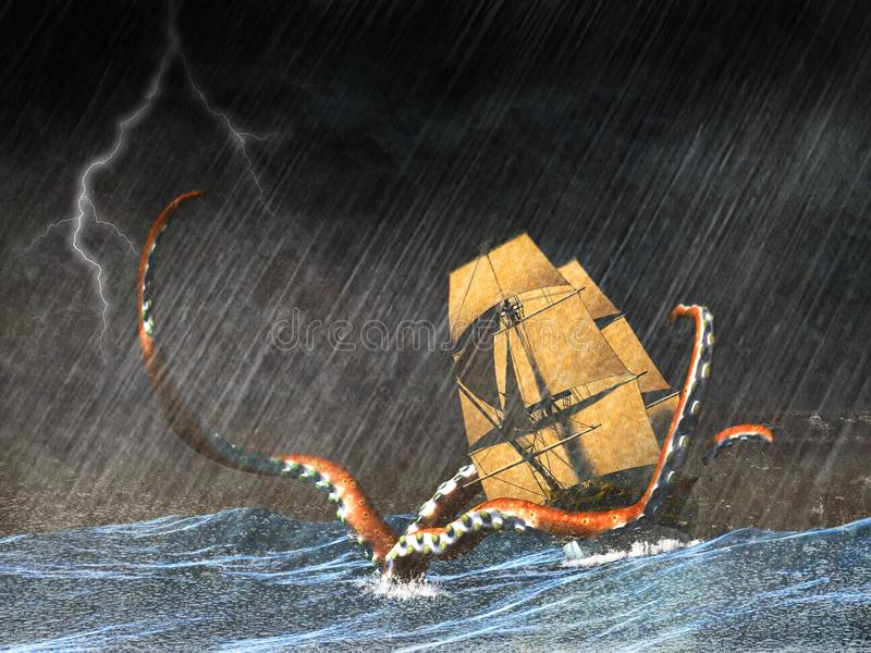 Tall Sailing Ship, Sea Monster. Illustration of a tall sailing ship in the rough, stormy ocean and rain while being attacked by a sea monster. Danger abounds vector illustration