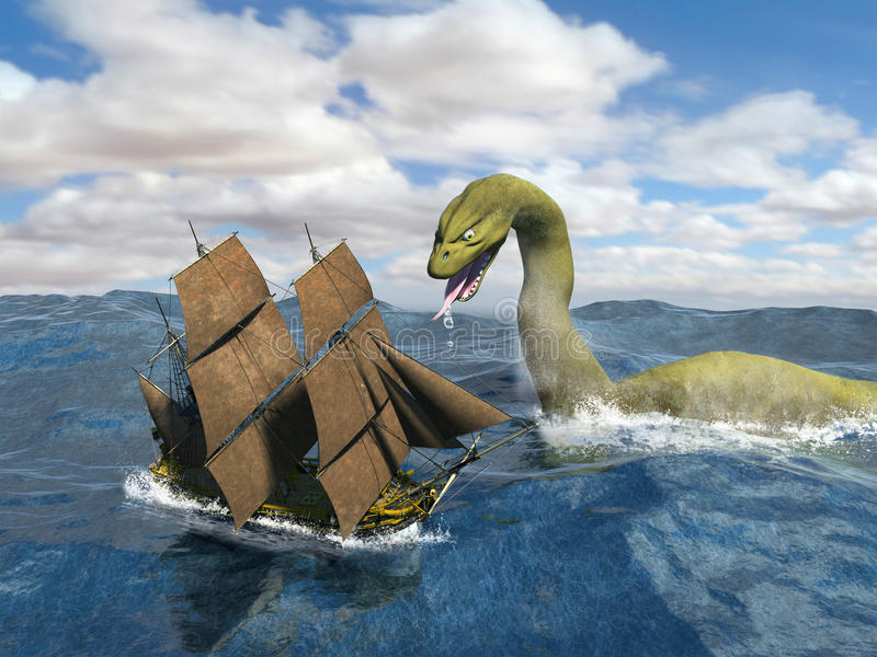 Tall Sailing Ship Sea Monster. A tall vintage sailing ship is being a attacked by a sea monster. The serpent scours the ocean looking for victims in this stock illustration