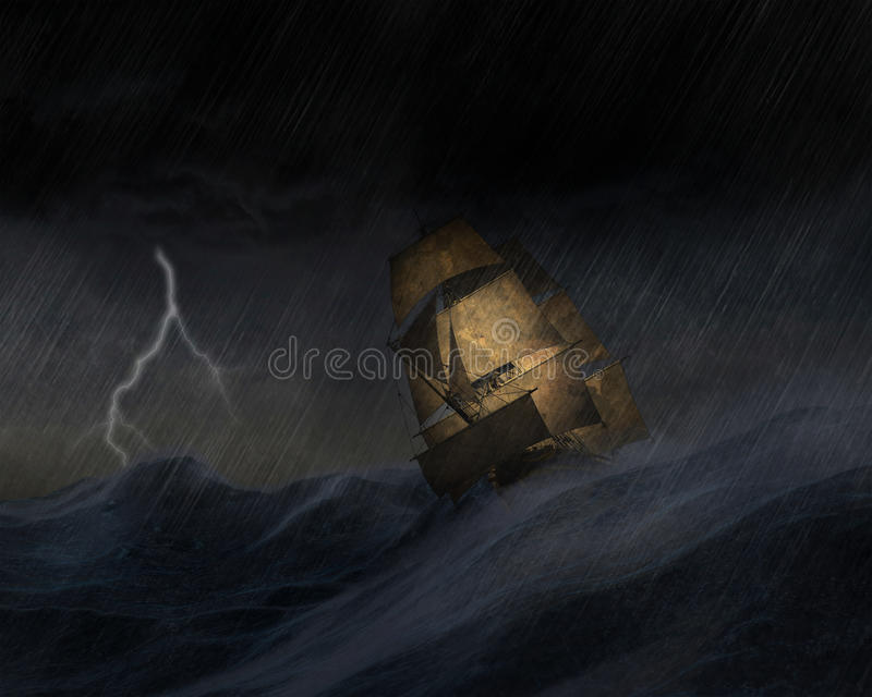 Tall Sailing Ship Storm Sea Illustration. Illustration of a tall sailing ship caught in a storm. The stormy ocean or squall is bad weather and danger for the vector illustration