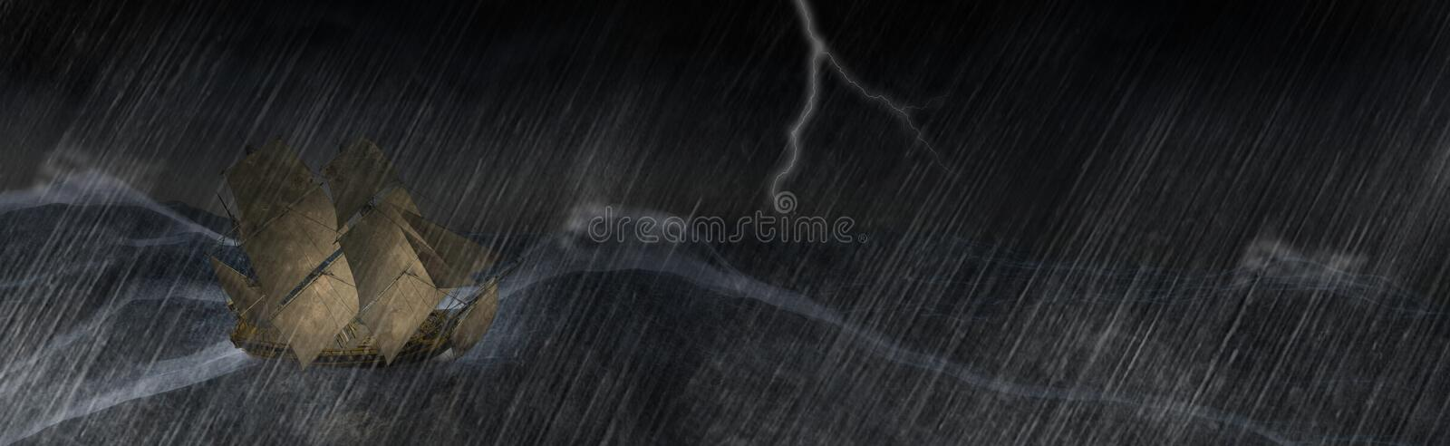 Tall Sailing Ship Storm Sea Illustration. Illustration of a tall sailing ship caught in a storm. The stormy ocean or squall is bad weather and danger for the stock illustration