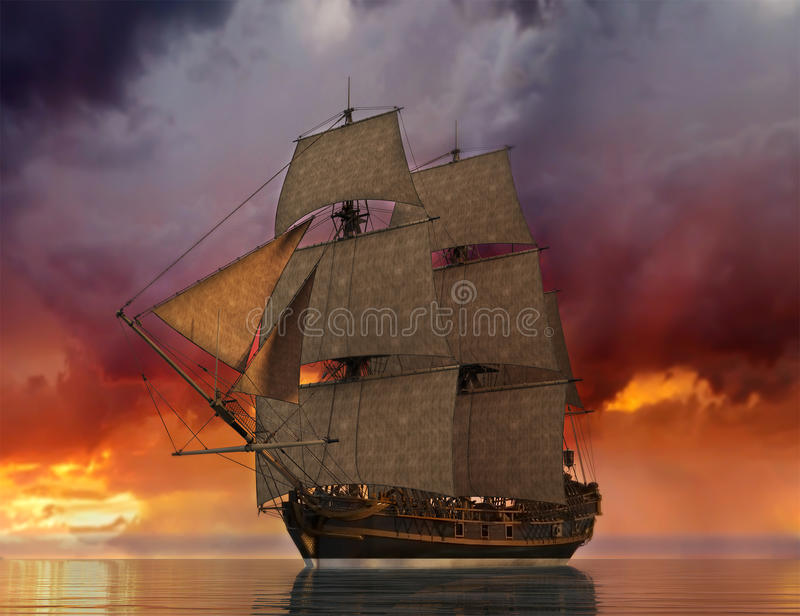 Tall Sailing Ship Sunrise SUnset Illustration. Illustration of a tall sailing ship at sunrise or sunset. The boat has full sails and is on the sea or ocean vector illustration