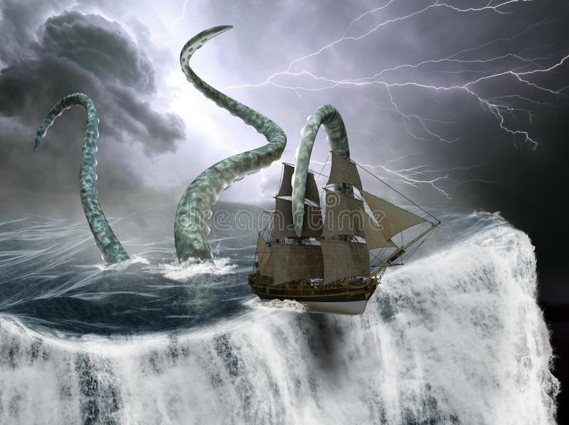 Tall Sailing Ship, World Edge, Sea Monster. A tall sailing ship is falling off the edge of the ocean, sea, and world. A sea monster is attacking the ship while a stock photography