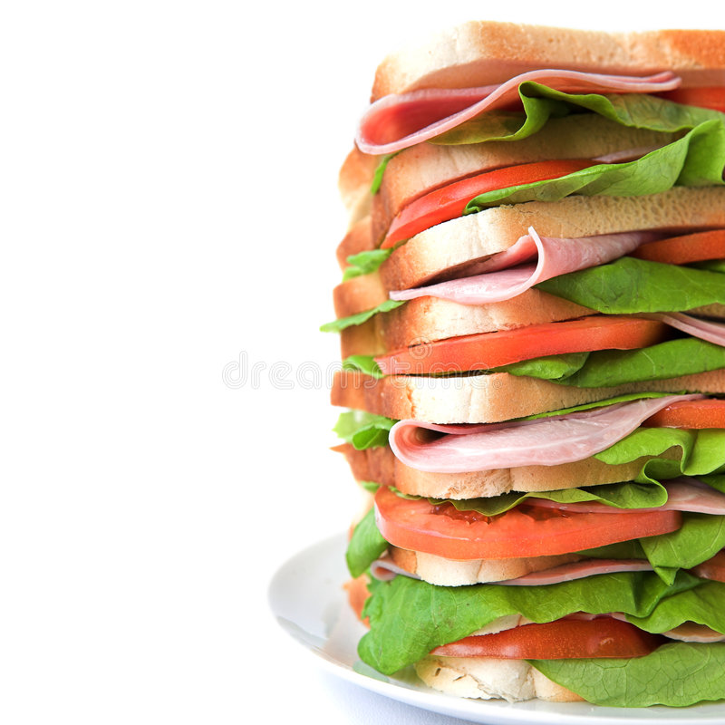 Download Tall Sandwich Of Ham, Tomato & Lettuce Royalty Free Stock Photography - Image: 6410917