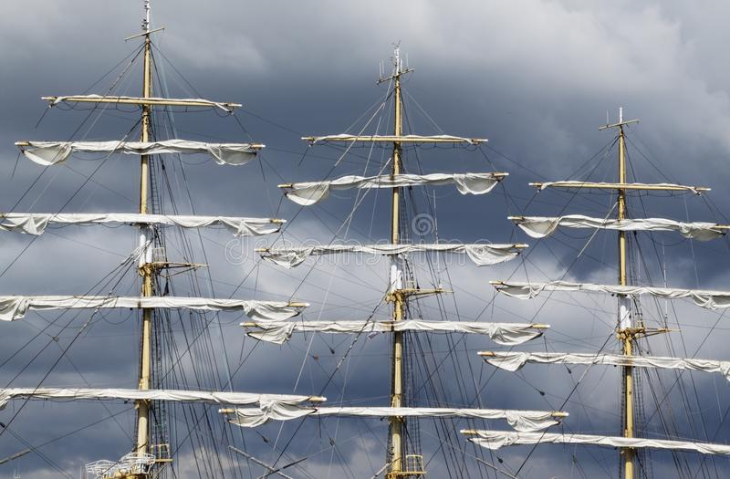 Tall ship. The Kruzenshtern, one of the biggest tall ship in the world royalty free stock photos