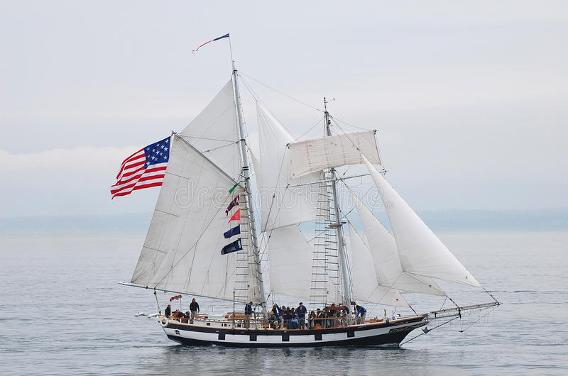 Tall Ship, Amazing Grace. Tall Ship Amazing Grace a square topsail schooner. She is an interpretation of an American letter of marque vessel of the same name stock photography