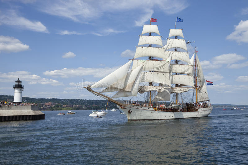 The tall ship Europa entering Duluth harbor. DULUTH, MINNESOTA, USA - JULY 29, 2010: The barque Europa enters Duluth harbor on Lake Superior during the Tall stock photo