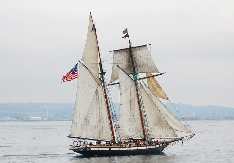 Tall Ship Lynx. A square topsail schooner. She is an interpretation of an American letter of marque vessel of the same name from 1812 (a privateer stock image