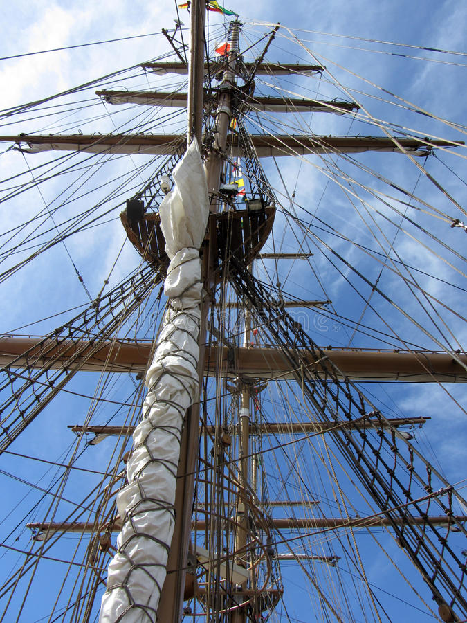Download Tall Ship Mast stock photo. Image of ropes, blue, tall - 25285078