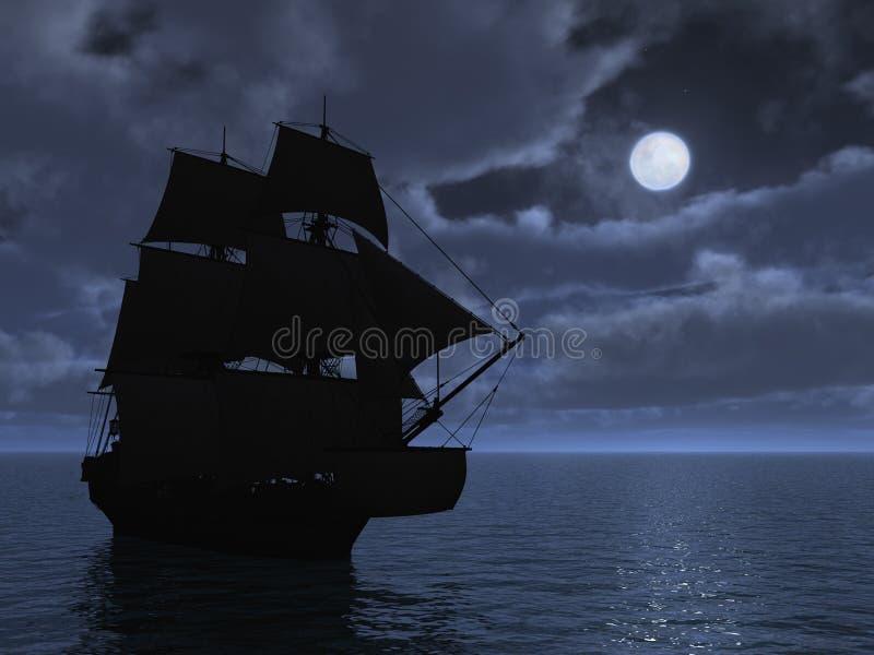 Tall Ship in Moonlight. 3d render