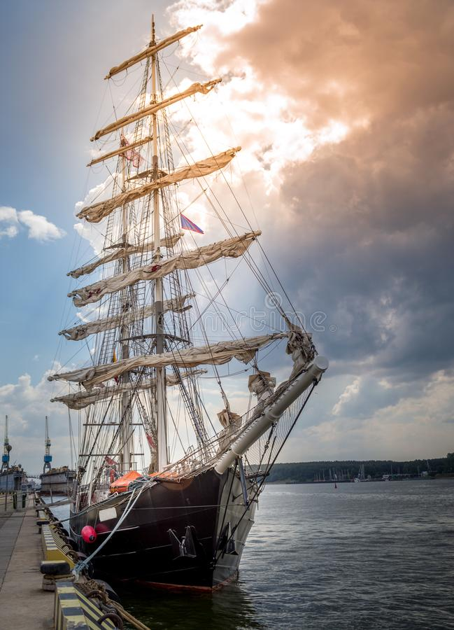 A tall ship in port royalty free stock photography