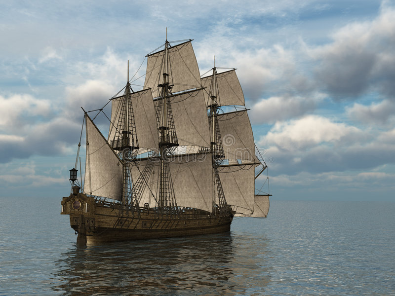 Tall Ship at Sea. 3d render