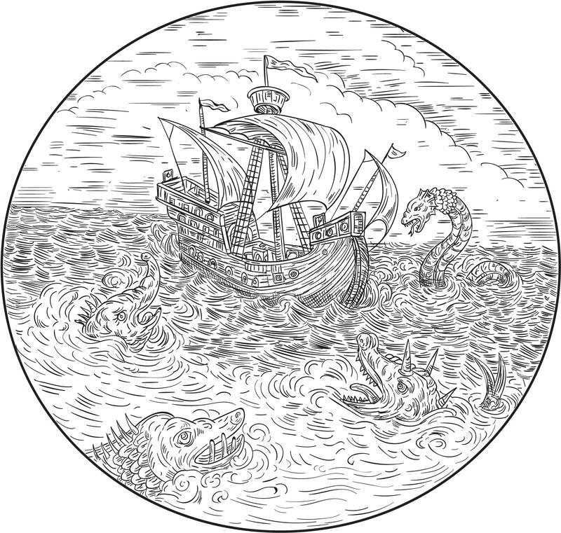Tall Ship Turbulent Sea Serpents Black and White Drawing vector illustration