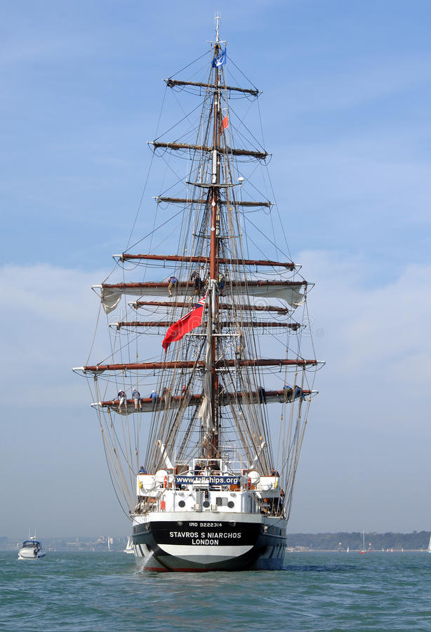 Download Tall ship underway editorial photo. Image of building - 21421201