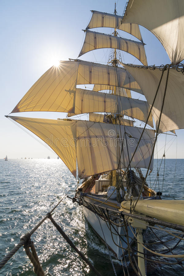 Tall ship view from bowsprit royalty free stock image